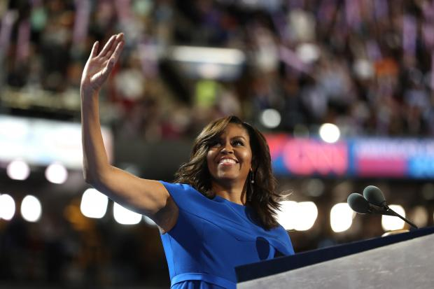 First lady Michelle Obama acknowledges the crowd before delivering remarks on the first day of the Democratic National Convention at the Wells Fargo Center in Philadelphia.