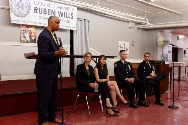 Councilman Ruben Wills (left) hosted a town hall about police body cameras along with the NYPD and the Policing Project at New York University.