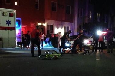 The cyclist was treated at Methodist Hospital after the Greenwood Heights crash, police said.