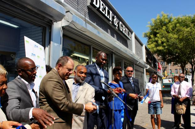 Local elected officials and business group held a ribbon-cutting ceremony Wednesday to mark the new look of several stores along Sutphin Blvd.