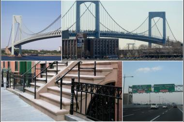 Four examples of New York City landmarks with historical typos in their names (clockwise from upper left): the Throgs Neck bridge; the Verrazano-Narrows bridge; Randall's Island; and Waverly Place.