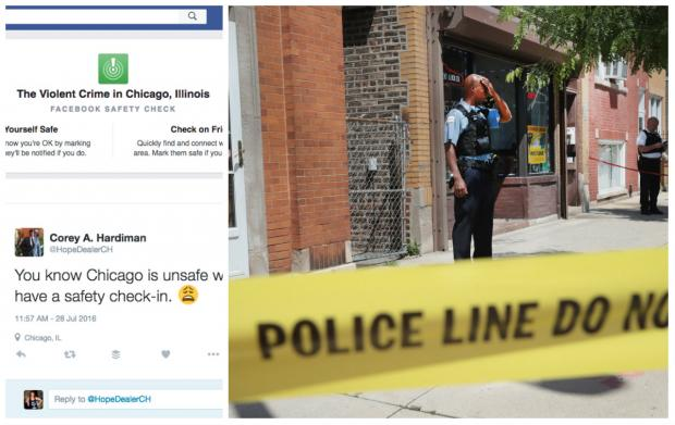 Facebook has put out a safety check for violent crime in Chicago.