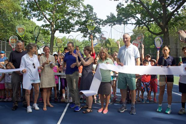Hundreds of kids use the park's courts for free tennis lessons from the City Parks Foundation.