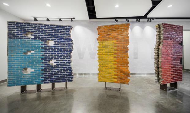 A New City complex art installation uses salvaged bricks from the New City YMCA.