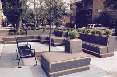 The comfy seating area is outside Perkolator Cafe at McVicker Avenue and Irving Park Road.