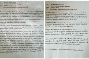 Letters residents received from Savoy Park regarding the two cases of Legionnaires' disease.