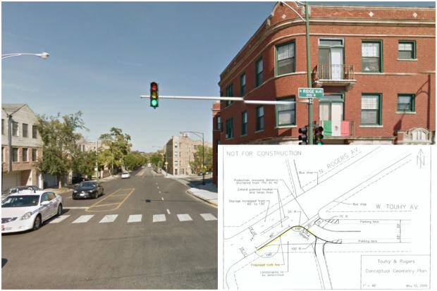 The Chicago Department of Transportation is suggesting a new traffic light be installed on Rogers Avenue, as well as extending a curb, to help increase traffic flow and pedestrian safety.