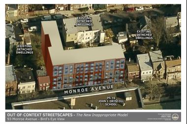 Borough President James Oddo called on the city to reject a zoning variance for a planned six-story project at 93 Monroe Ave., arguing it would destroy the characteristic of the neighborhood.