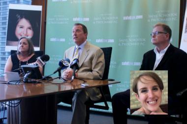 From left: Nancy Murray, attorney Jeffrey Kroll, Jim Murray. Inset: Virginia