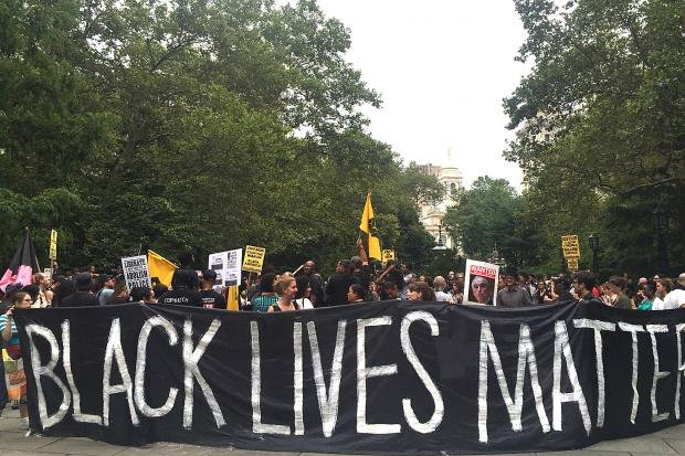 Hundreds of Black Lives Matter protesters said they intended to form an encampment in City Hall Park on Monday to call for the firing of NYPD Commissioner Bill Bratton, Aug. 1, 2016.