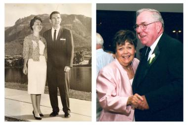 Dan and Colleen O'Shea are pictured here on their honeymoon (left) and at their daughter Maura's wedding. Colleen O'Shea, 79, died Sunday.