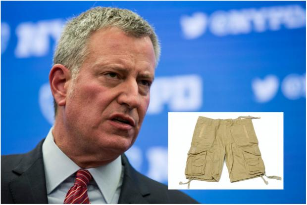 Mayor Bill de Blasio may be regretting his choice of workout clothing Tuesday.