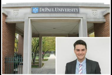 Ben Shapiro (left), a conservative commentator, was banned from speaking at DePaul University.