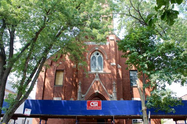 A developer is tearing down the St. John United Church of Christ in Logan Square to make way for a condo project.
