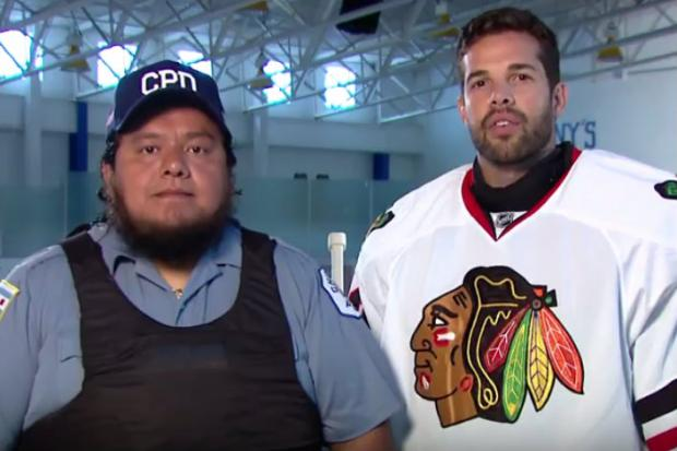 Blackhawks goalie Corey Crawford and Officer Alex Laguntas appear in an advertising campaign to help raise funds for to equip officers with new bulletproof vests.