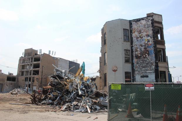 Ahead of Thursday's groundbreaking, demolition crews knocked down the line of buildings in the space across from Wrigley Field set to become Addison & Clark, a massive mixed-use development.