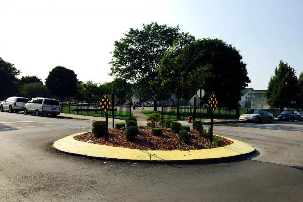 A traffic circle at the intersection of 45th and South Marshfield, across the street from Davis Square Park in Back of the Yards.