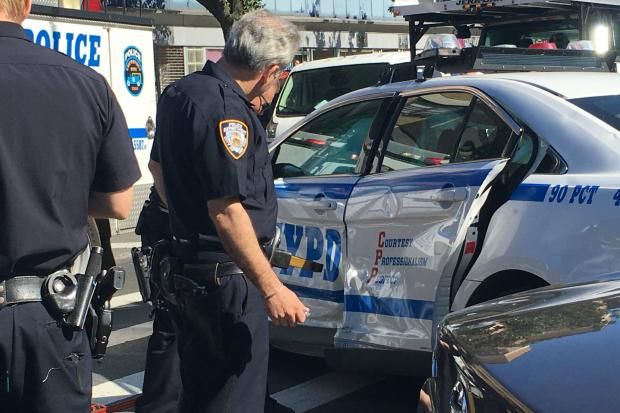 A police car was T-boned in Williamsburg Wednesday afternoon.