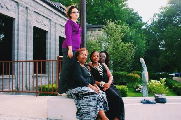 A group of South Side authors by the name of FLOW, or For the Love of Writing, reformed in 2012 after a decade in hibernation. The core of the group is made up of six black women who all have a connection to the Beverly area. Members of FLOW pictured here include (from left) Tina Jenkins Bell, Janice Lively and Sandra Jackson Opoku as well as Chirskira Caillouet (standing).