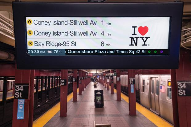 Rendering of a new countdown clock that the MTA will begin testing in eight Manhattan stations on the N, Q, R line before a rollout to all lettered subway stations.