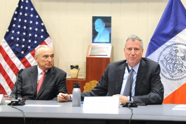 Mayor Bill de Blasio and Police Commissioner Bill Bratton speak about crime stat numbers at One Police Plaza on Thursday, Aug. 4, 2016.