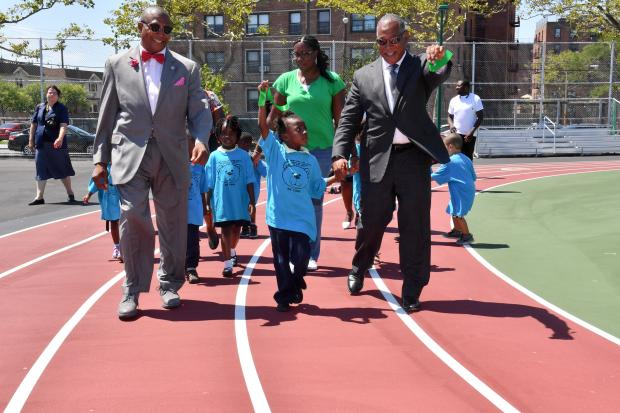 The renovated Cardozo Playground includes a new track and other play spaces.