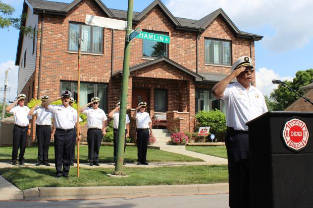 Honorary Daniel V. Capuano Avenue was unveiled Friday afternoon where 106th Street meets Hamlin Avenue in Mount Greenwood. The sign honors the firefighter who died Dec. 14 battling a smoky warehouse fire in South Chicago.