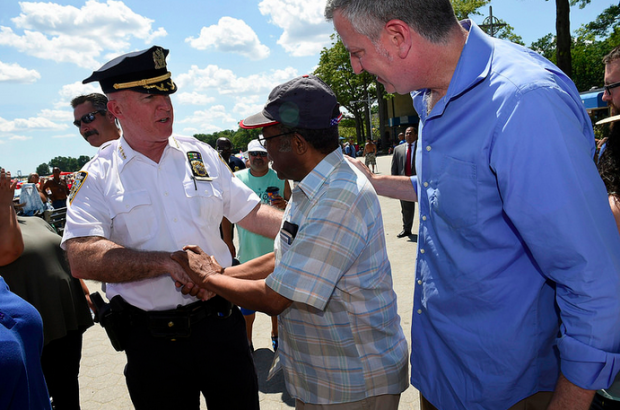 Mayor Bill de Blasio out with incoming Police Commissioner Jimmy O'Neill meeting with residents and business owners at the Orchard Beach boardwalk.
