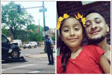 Right: William Villa and his daughter, age 7. Left: The SUV Villa  was driving when he was shot and killed early Monday was towed away around 6:30 a.m. Monday.