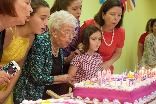 """""""I never took no for an answer,"""" the centenarian said at her birthday celebration Monday."""