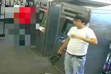Police consider this man a suspect in the theft of a wallet and cellphone from a sleeping subway rider in Queens.