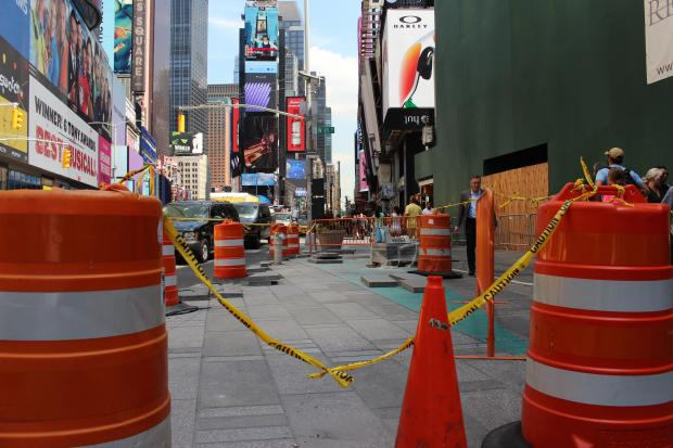Construction in Times Square's plazas has eliminated two of the city's eight designated activity zones.