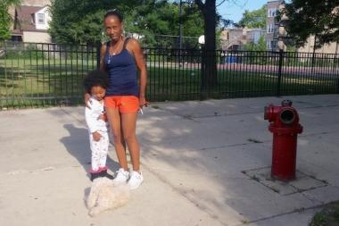 Michelle Hamilton said she only feels safe taking her granddaughter Astaria, 3, to their block's playlot in the early morning.