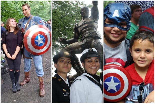 Marvel Comics fans gathered in Prospect Park to welcome a statue of Captain America that will be on display until Aug. 24.