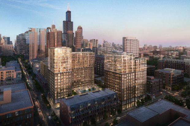 Developers are pitching plans to build a massive 442-unit project in three buildings at the southwest corner of Washington and Sangamon. The site is part of the Haymarket Center's West Loop campus.