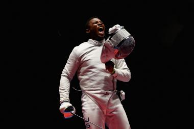 Daryl Homer celebrates his victory over Mojtaba Abedini during the men's individual sabre semifinal at the Rio 2016 Olympic Games.