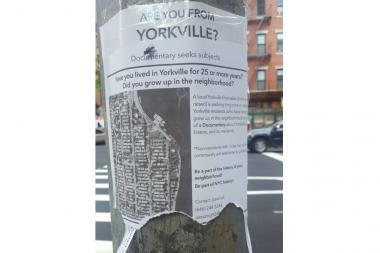 Jared Grossman, a native of Yorkville, posted fliers this week to find subjects to interview for his documentary on the neighborhood.