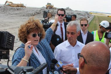 Aviation Commissioner Ginger Evans and Mayor Rahm Emanuel insist the new runway with