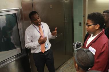 About 50 teens visited the morgue at Brookdale Hospital Thursday to see the horrors of gun violence firsthand.