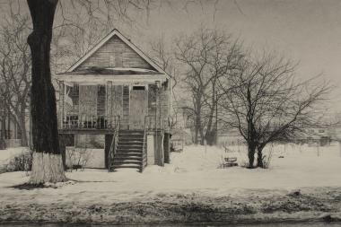 A piece by Jennifer Cronin: What was Once a Home (South Throop Street), 17″ x 25.5″, Carbon pencil on toned paper, 2015.