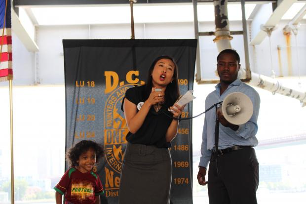 State Assembly Candidate Yuh-Line Niou joined union reps in urging the DOT to take action.