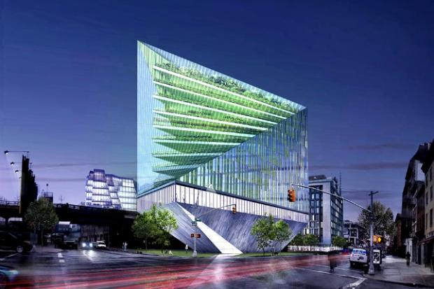 Weston Baker Creative's hypothetical revolving glass building would rise next to the High Line.