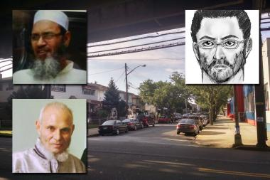 Oscar Morel, who can be seen in police sketch, top right, was charged with fatally shooting Maulama Akonjee, 55, and his assistant Thara Uddin, 64.
