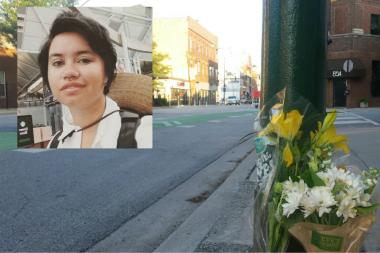 Flowers left at the scene where Lisa Kuivinen (pictured) was struck and killed by a semi-truck.