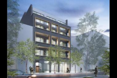 Rendering of a proposed apartment building at 1665 N. Milwaukee, currently an empty lot after a building was demolished