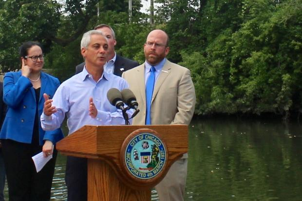 Mayor Rahm Emanuel joined more than a dozen other leaders to unveil the long-touted proposal.