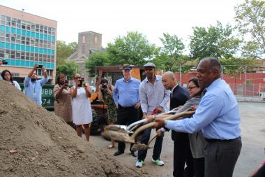Parks Department reps joined elected officials and community leaders to break ground on the long-awaited reconstruction of two Lower East Side playgrounds.