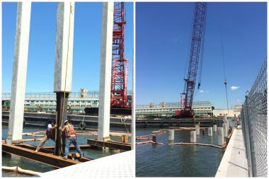 The first nine piles that will support the Barry Diller-funded Pier55 park were driven in, despite three pending lawsuits.
