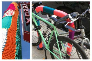 Two yarn bombs in East Village.