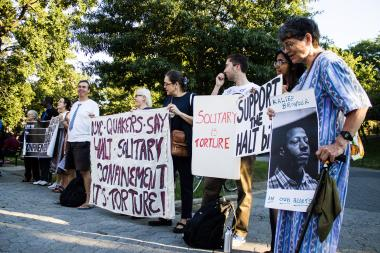 Advocates rallied to call on Cuomo to end solitary confinement in state prisons.